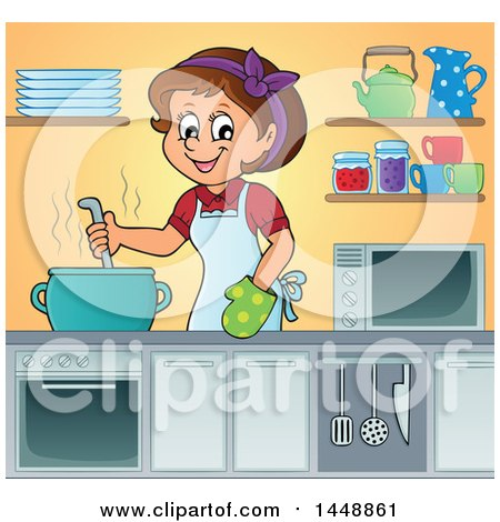Clipart of a Cartoon Happy Brunette Housewife Cooking Soup or Stew in a Kitchen - Royalty Free Vector Illustration by visekart