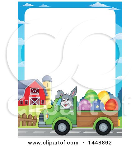 Clipart of a Border of a Rabbit Hauling Giant Easter Eggs with a Pickup Truck - Royalty Free Vector Illustration by visekart