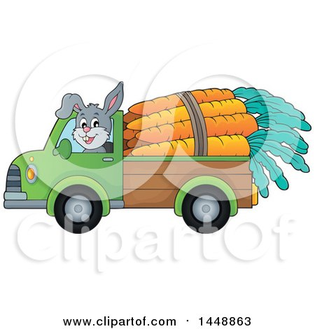 Clipart of a Rabbit Hauling Giant Carrots with a Pickup Truck - Royalty Free Vector Illustration by visekart