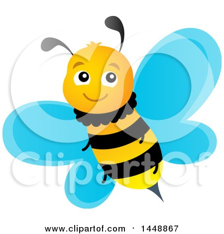 Clipart of a Cute Happy Bee - Royalty Free Vector Illustration by visekart