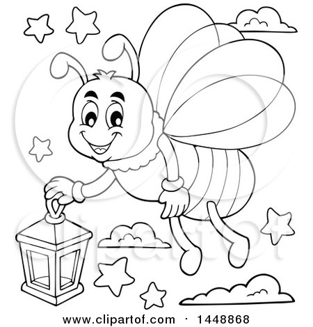 Black and White Lineart Happy Firefly Flying with a Lantern Posters, Art Prints