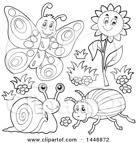 Clipart of Black and White Lineart Butterfly, Flower, Snail and Beetle - Royalty Free Vector Illustration by visekart