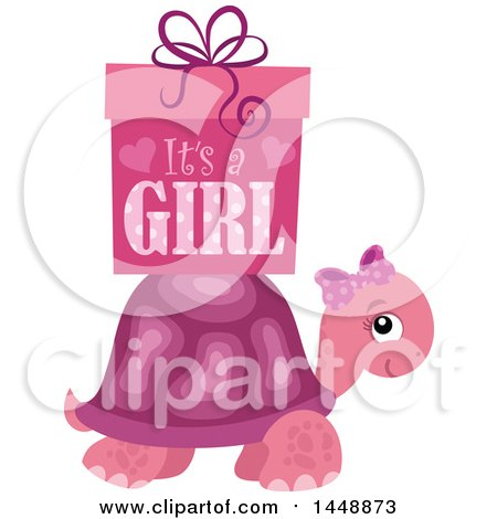 Clipart of a Pink Tortoise Turtle with a Pink Its a Girl Gift Box - Royalty Free Vector Illustration by visekart