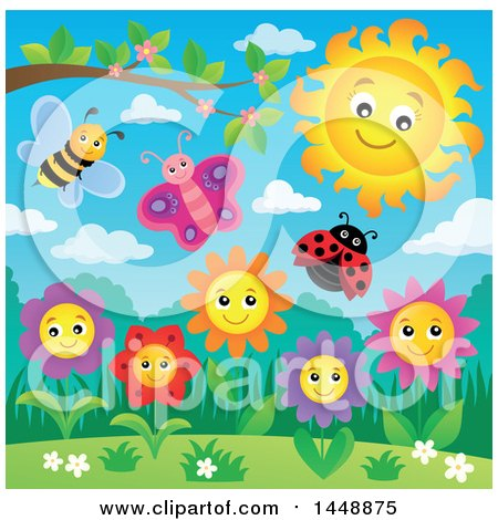 Clipart of a Sun over Spring Flowers and Insects - Royalty Free Vector Illustration by visekart