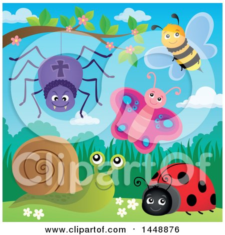 Clipart of a Spider, Bee, Butterfly, Ladybug and Snail on a Spring Day - Royalty Free Vector Illustration by visekart