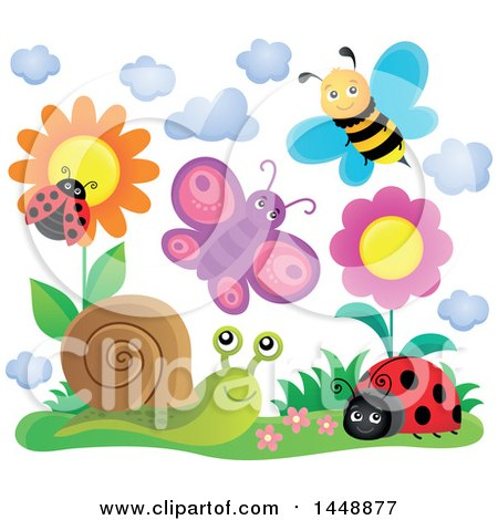 Clipart of Happy Insects near Flowers - Royalty Free Vector Illustration by visekart