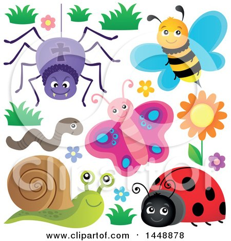 Clipart of a Spider, Bee, Worm, Butterfly, Ladybug and Snail - Royalty Free Vector Illustration by visekart