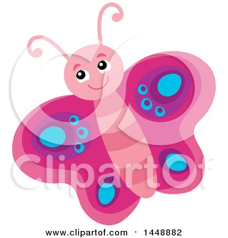Clipart of a Cute Pink Butterfly - Royalty Free Vector Illustration by visekart