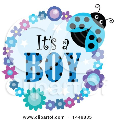 Clipart of a Blue Ladybug and Flower Frame with Its a Boy Text - Royalty Free Vector Illustration by visekart