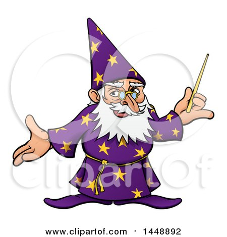 Clipart of a Cartoon Old Wizard Holding a Wand and Presenting - Royalty Free Vector Illustration by AtStockIllustration
