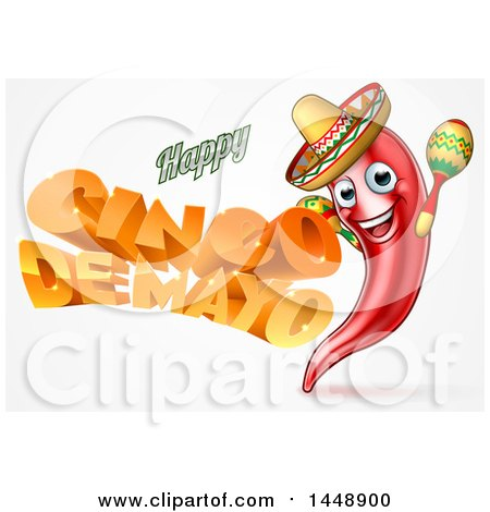 Clipart of a 3d Orange Happy Cinco De Mayo Text with a Chile Pepper Character Wearing a Sombrero and Playing Maracas - Royalty Free Vector Illustration by AtStockIllustration