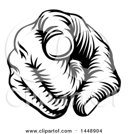 Clipart of a Black and White Retro Woodcut Hand Pointing Outwards - Royalty Free Vector Illustration by AtStockIllustration