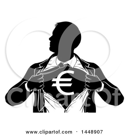 Clipart of a Black and White Silhouetted Strong Business Man Super Hero Ripping off His Suit, Revealing a Euro Currency Symbol - Royalty Free Vector Illustration by AtStockIllustration