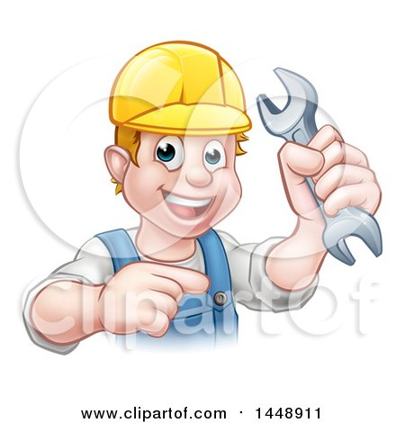 Cartoon Happy White Male Mechanic Holding a Spanner Wrench and Pointing Posters, Art Prints
