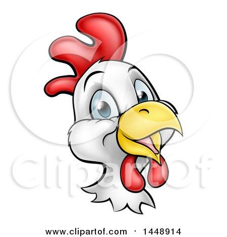 Clipart of a Cartoon Happy Chicken Face - Royalty Free Vector Illustration by AtStockIllustration