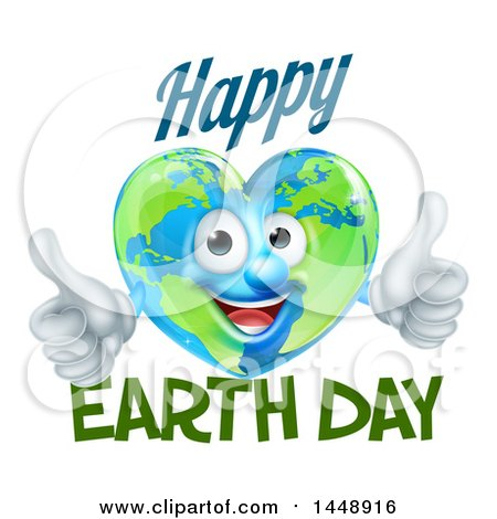 Clipart of a Heart Shaped Globe Mascot Giving Two Thumbs Up, with Happy Earth Day Text - Royalty Free Vector Illustration by AtStockIllustration