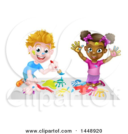 Clipart of a Happy White Boy and Black Girl Painting - Royalty Free Vector Illustration by AtStockIllustration