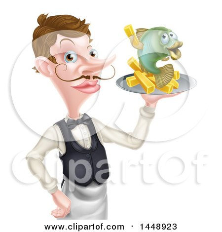 Clipart of a White Male Waiter or Butler with a Curling Mustache, Holding Fish and a Chips on a Tray - Royalty Free Vector Illustration by AtStockIllustration