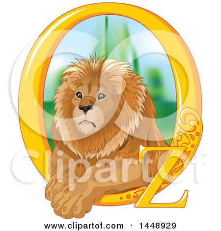 Clipart of a Male Lion Resting in a Golden Oz Frame - Royalty Free Vector Illustration by Pushkin