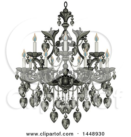 Clipart of a Beautify Fancy Chandelier with Lit Candles - Royalty Free Vector Illustration by Pushkin