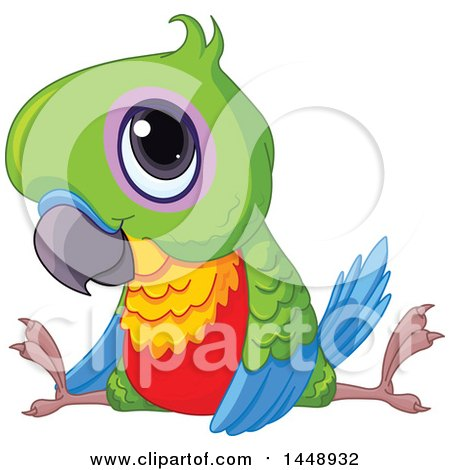 Clipart of a Cute Adorable Baby Parrot Doing the Splits - Royalty Free Vector Illustration by Pushkin