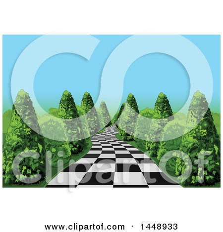 Clipart of a Checkered Path Leading Through Shrubs - Royalty Free Vector Illustration by Pushkin