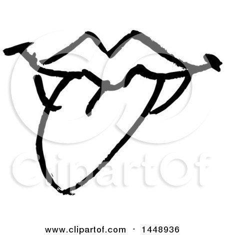 Clipart of a Black and White Doodle Sketched Female Mouth - Royalty Free Vector Illustration by yayayoyo