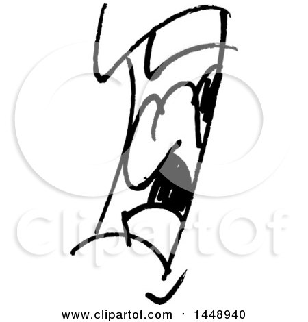 Clipart of a Black and White Doodle Sketched Male Mouth - Royalty Free Vector Illustration by yayayoyo