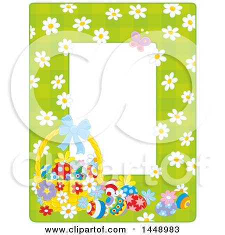 Clipart of a Vertical Green Gingham Background Frame Border with Daisy Flowers, a Butterfly and Easter Basket with Eggs - Royalty Free Vector Illustration by Alex Bannykh