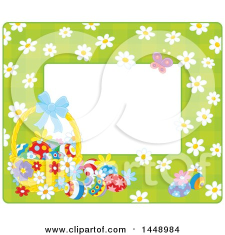 Clipart of a Horizontal Green Gingham Background Frame Border with Daisy Flowers, a Butterfly and Easter Basket with Eggs - Royalty Free Vector Illustration by Alex Bannykh