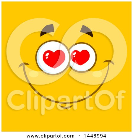 Clipart of a Happy Face with Love Heart Eyes on Yellow - Royalty Free Vector Illustration by Hit Toon