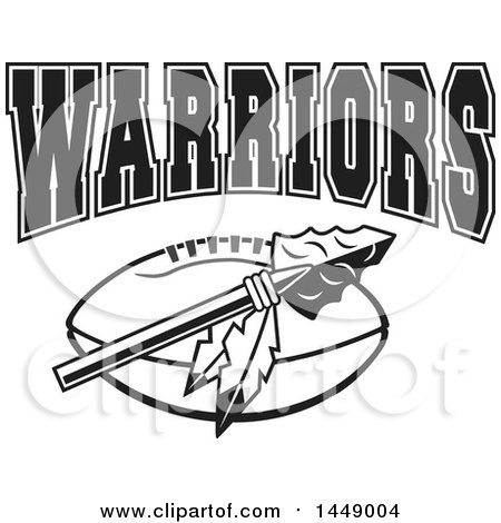 Clipart of a Black and White Arrowhead with Feathers over an American Football and WARRIORS Team Text - Royalty Free Vector Illustration by Johnny Sajem