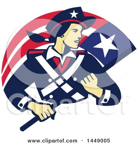 Clipart Graphic of a Retro Female American Patriot Minuteman Revolutionary Soldier with a Flag Banner - Royalty Free Vector Illustration by patrimonio