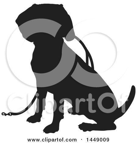 Clipart Graphic of a Black and White Silhouetted Beagle Dog Sitting with a Leash - Royalty Free Vector Illustration by Maria Bell