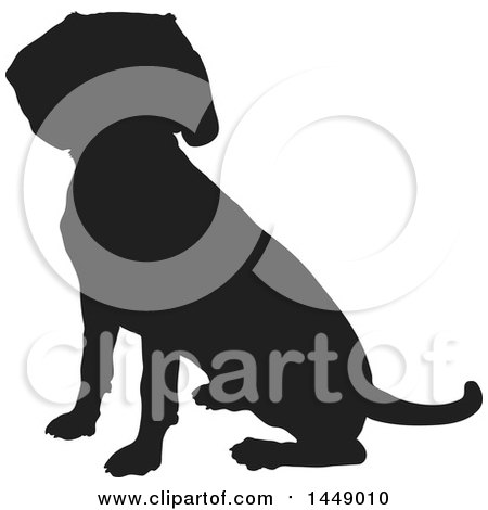 Clipart Graphic of a Black and White Silhouetted Beagle Dog Sitting - Royalty Free Vector Illustration by Maria Bell