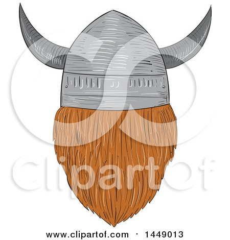 Clipart Graphic of a Drawing Sketched Styled Rear View of a Viking Head with a Helmet - Royalty Free Vector Illustration by patrimonio