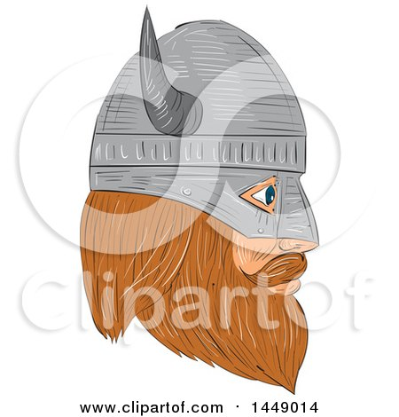 Clipart Graphic of a Drawing Sketched Styled Viking Head with a Helmet in Profile - Royalty Free Vector Illustration by patrimonio