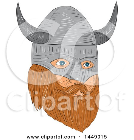 Clipart Graphic of a Drawing Sketched Styled Viking Head with a Helmet in Quarter View - Royalty Free Vector Illustration by patrimonio