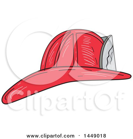 Clipart Graphic of a Sketched Vintage Fire Fighter Helmet - Royalty Free Vector Illustration by patrimonio