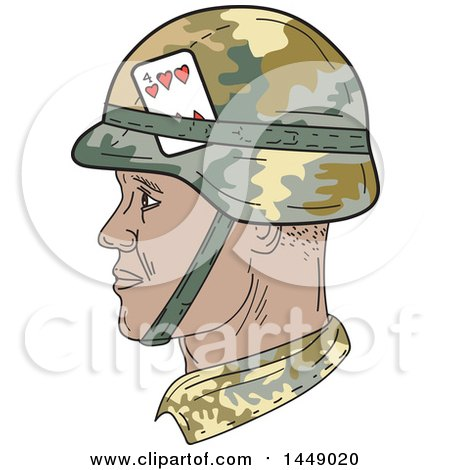 Clipart Graphic of a Drawing Sketch Styled African American Us Army Soldier Head in Profile - Royalty Free Vector Illustration by patrimonio
