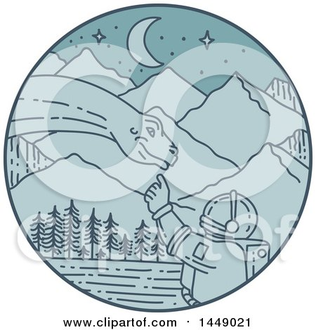 Clipart Graphic of a Mono Line Styled Astronaut Touching a Dinosaur in a Blue Mountainous Circle - Royalty Free Vector Illustration by patrimonio