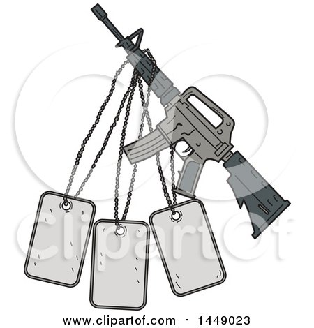 Clipart Graphic of a Drawing Sketch Styled M4 Rifle and Dog Tags - Royalty Free Vector Illustration by patrimonio