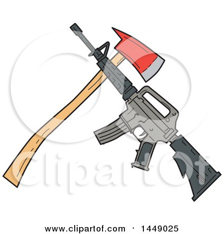 Clipart Graphic of a Drawing Sketch Styled Crossed Fire Ax and M4 Rifle - Royalty Free Vector Illustration by patrimonio