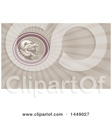 Clipart of a Retro Angry Rattlesnake in an Oval and Rays Background or Business Card Design - Royalty Free Illustration by patrimonio