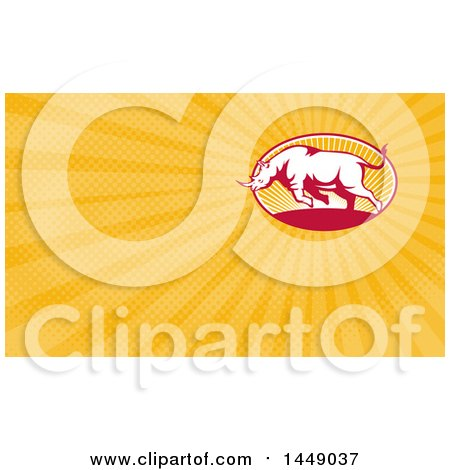 Clipart of a Retro Charging Rhino and Orange Rays Background or Business Card Design - Royalty Free Illustration by patrimonio