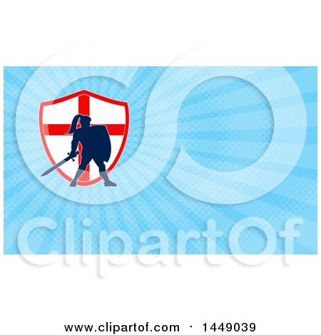 Clipart of a Silhouetted Knight in Full Armor over an English Flag Shield and Blue Rays Background or Business Card Design - Royalty Free Illustration by patrimonio