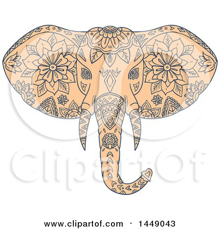 Clipart Graphic of a Sketched Mandala Styled Elephant Head - Royalty Free Vector Illustration by patrimonio