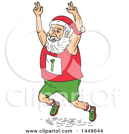 Clipart Graphic of a Cartoon Santa Claus Running a Marathon, Holding His Arms up in the Air - Royalty Free Vector Illustration by patrimonio