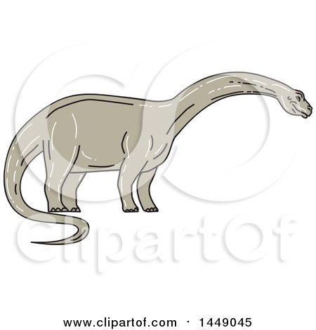 Clipart Graphic of a Sketched Mono Line Styled Brontosaurus Apatosaurus Dinosaur - Royalty Free Vector Illustration by patrimonio