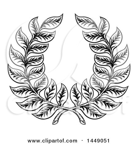 Clipart Graphic of a Black and White Woodcut Laurel Wreath - Royalty Free Vector Illustration by AtStockIllustration